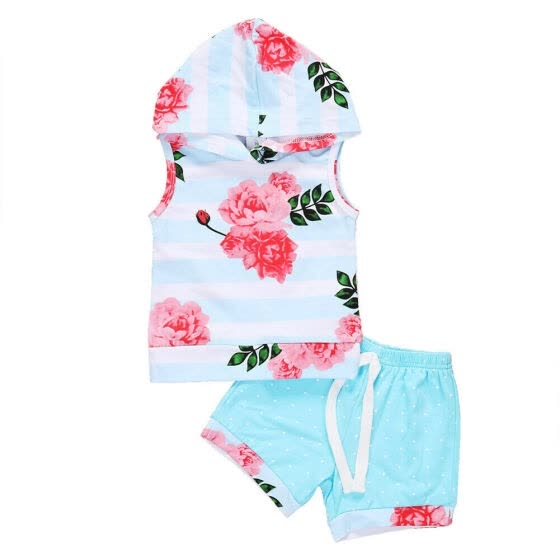 Summer Toddler Baby Girl Floral Hooded Tops Shorts Outfits Set Clothes 0-3T