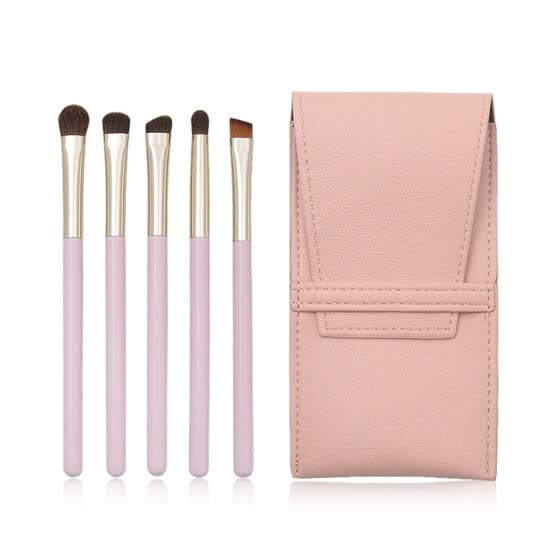 〖Follure〗5 Pcs Pink Wooden Handle Fiber Eye Brush Makeup Brush Bag Set