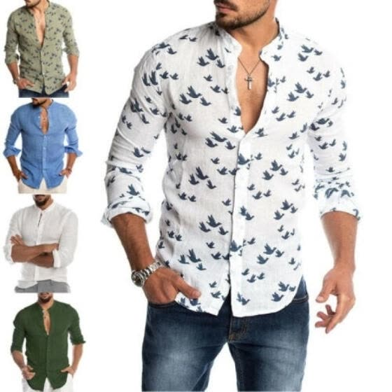 Fashion Men´s Casual V-neck Shirt Button Down Slim Fit Long Sleeve Formal Shirts
