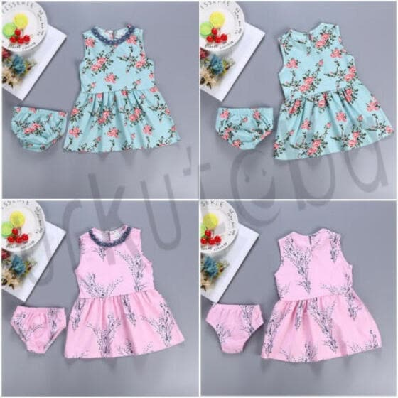 US Lovely Kids Girl's Summer Pretty Floral Sleeveless Princess Dresses Age 0-24M