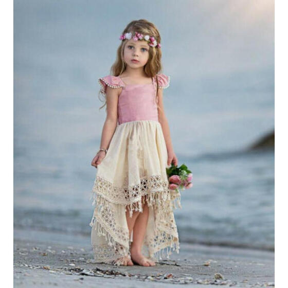 Kids Baby Girls Dress Lace Party Dress Short Sleeve Solid Dress Clothes Sundress
