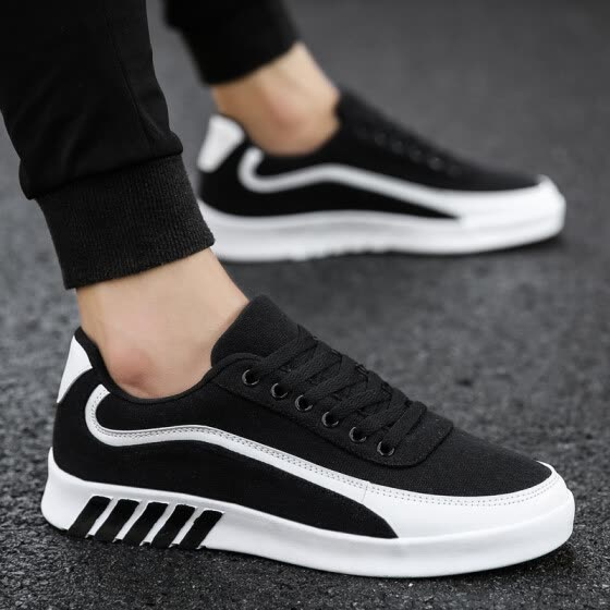 Canvas shoes men's fashion breathable fashion shoes tide black shoes men's casual sports shoes