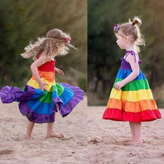 US Princess Kids Baby Girl Dress Rainbow Ruffle Party Sleeveless Dresses Clothes