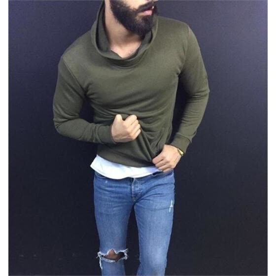Fashion Mens Cotton Turtleneck Polo Pullover Sweater Stretch Jumper 3 Colors Top