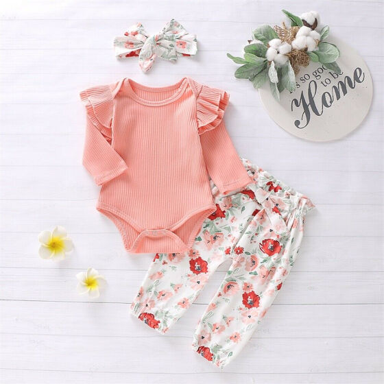3pcs Baby Girl Newborn Toddlers Flower Headband+Top+Shorts Pants Outfit Clothes