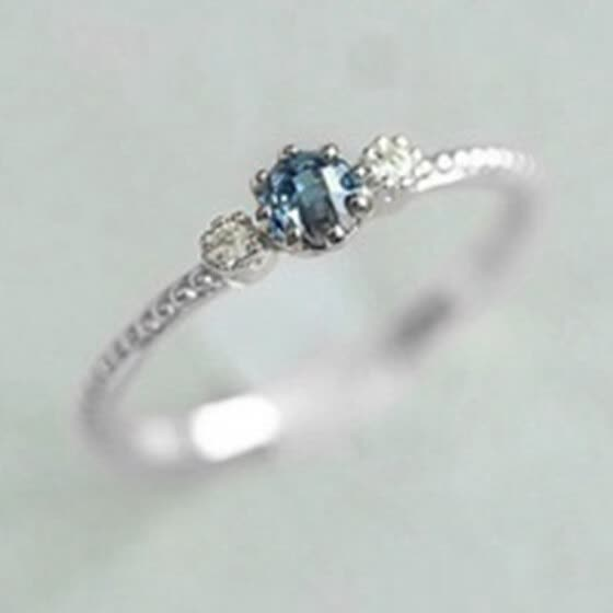 Women Natural Sea Blue Sapphire Simple Rings Engagement Wedding Party Courtship Ring Jewelry