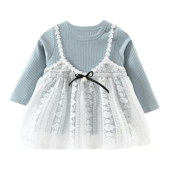 Girl Long Sleeves Round Neck Dress Lace Princess Female Baby Autumn Dress
