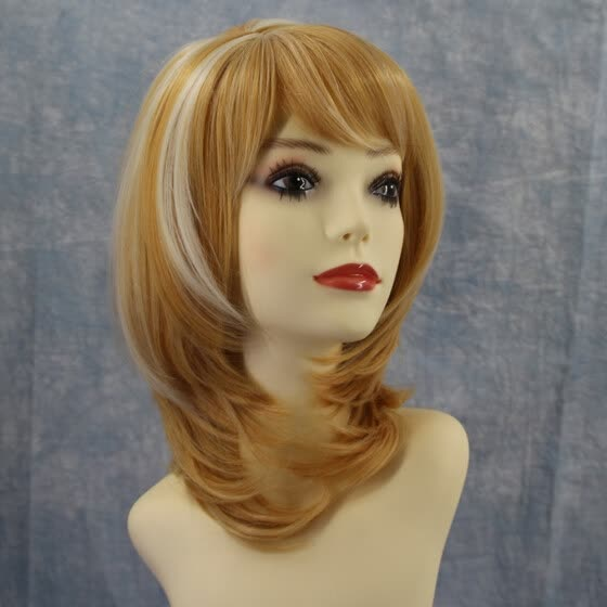 High-temperature Synthetic Fiber Curly Matte Wigs for The Light-curves Natural Side Bangs Short Hair