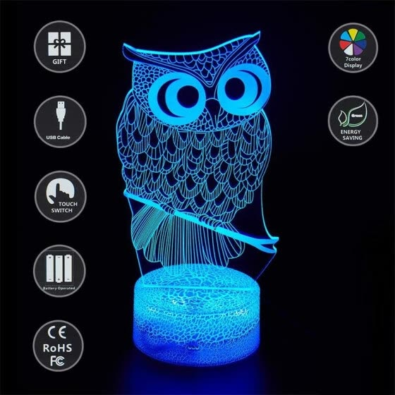 Kids' Gift 3D Illusion Night Light With Different Shape 7 Color Change LED Desk Lamp Touch Home Room Dector Gift