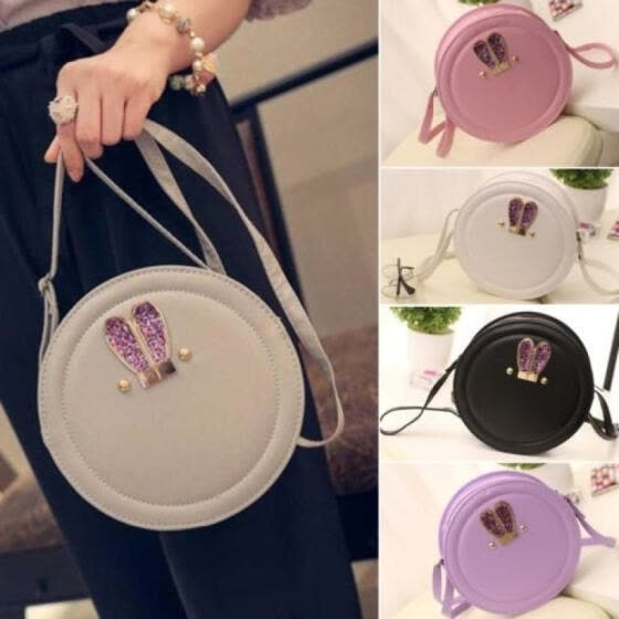 Women Candy Small Circle Round Rabbit Ears Shoulder Chain Cross Body Bags Purse