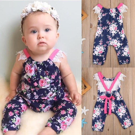 Summer Newborn Baby Girl Ruffle Romper Bodysuit Jumpsuit Sunsuit Outfits Cloth J