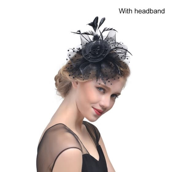 Bridal Net Feather Hats Birdcage Net Wedding Headband Hats Bridal Fascinator Face Party Wedding Hair Accessories