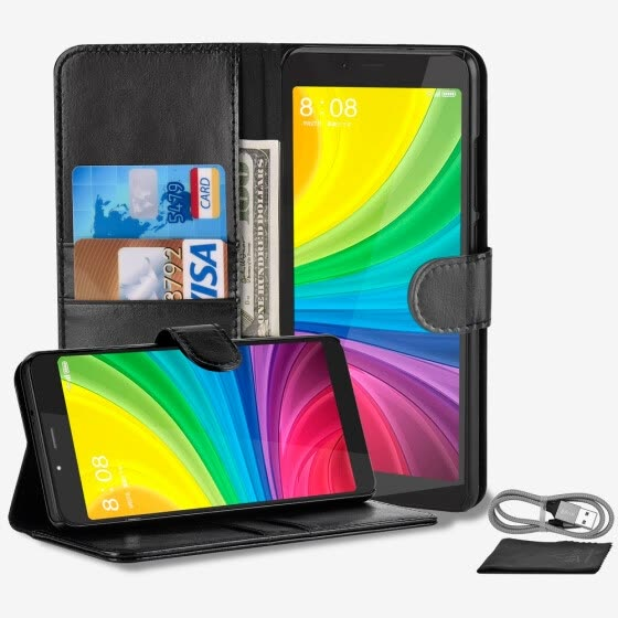 Kiirie Wallet Case, Xiaomi Redmi Note5 PU Leather Case With Kickstand Card Slots, Magnetic Clasp and Card Holder