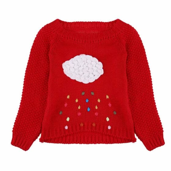 Winter Girls Kids Clothing Children Pullover Cartoon Rain Knitted Sweater
