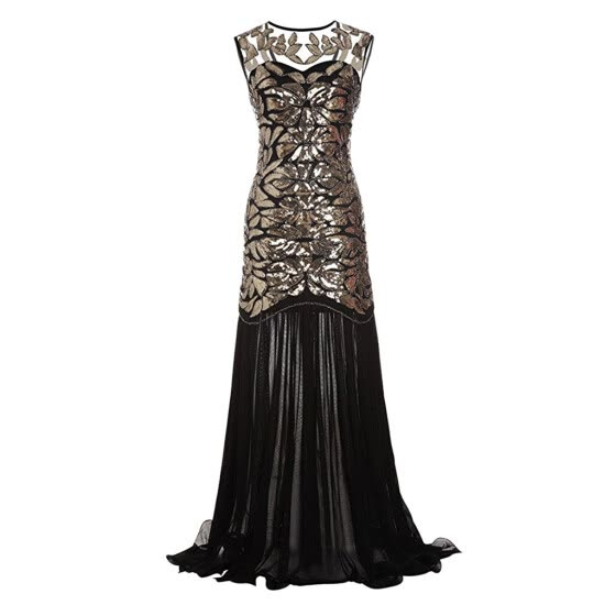 〖Follure〗Women Vintage 1920s Sequined Patchwork Sleeveless Maxi Long Evening Prom Dress