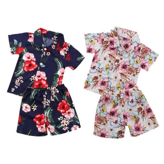 Kids Baby Boys Floral Tops T Shirt Shorts Pants Outfits Beach Clothes Summer