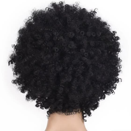 〖Follure〗Black Synthetic Curly Wigs for Women Short Afro Wig African American Natural
