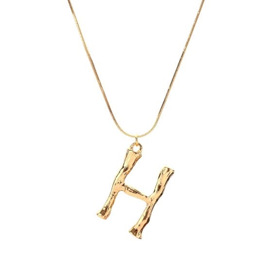 Gold Letter Necklace Hot Fashion Vintage Jewelry Hyperbole Big English Letter Pendant Gold Chain Dangle Necklace For Women Gift