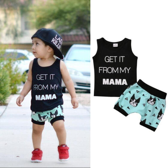 Shorts Pants 2PCS Outfit Summer Clothes US Baby Boy Toddler Kids T-Shirt Top