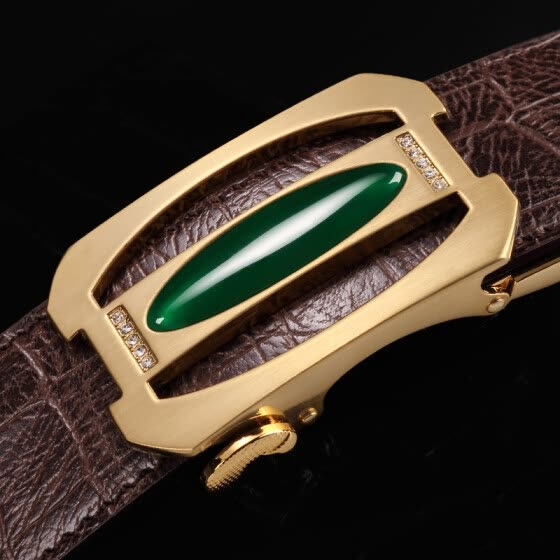 High-grade belt men's automatic buckle inlaid jade crocodile belt men's youth business dress pants with gifts
