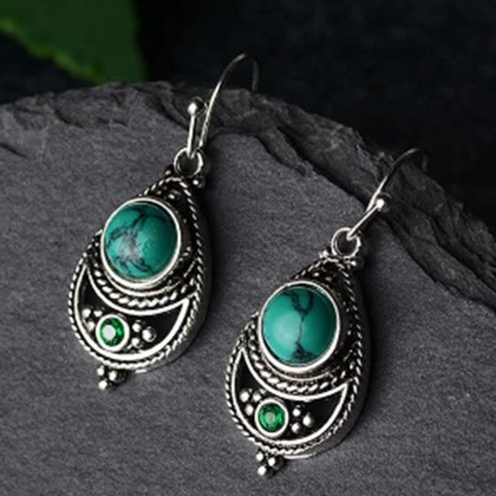 Women Sterling Silver Turquoise Dangle Earrings Gemstone Hook Earring Anniversary Proposal Gift Party Engagement Wedding Jewelry
