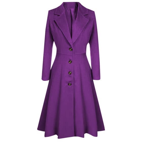 (Toponeto) Womens Winter Lapel Button Long Trench Coat Jacket Ladies Parka Overcoat Outwear