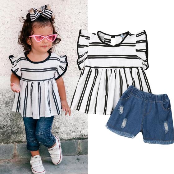 2pcs Toddler Kids Baby Girls Dress T-Shirt Tops Denim Pants Set Clothes Outfits