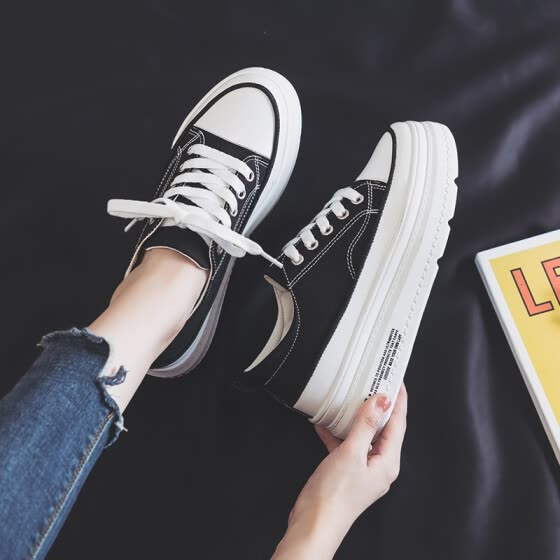 2019 summer new style canvas women's shoes, Korean style 100 cloth shoes, spring, biscuit, skate shoes, red and summer fashionable