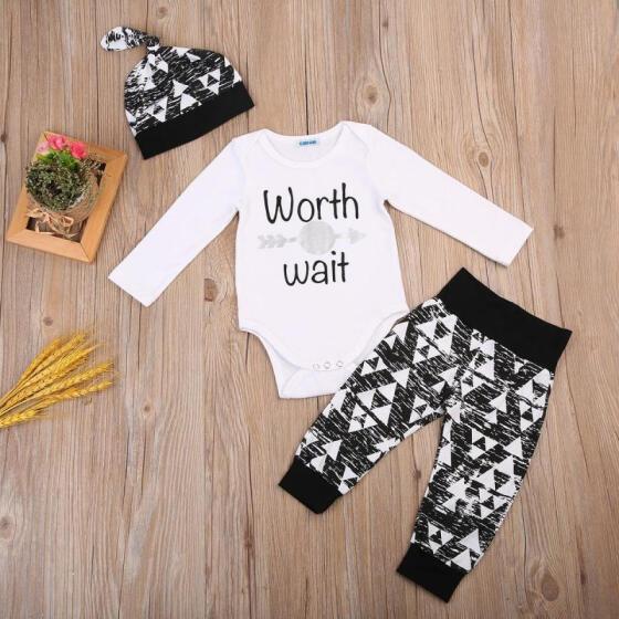 Infant Baby Boys Bodysuit Set Outfits Hat Long Sleeve Top+Pants Jumpsuit Romper