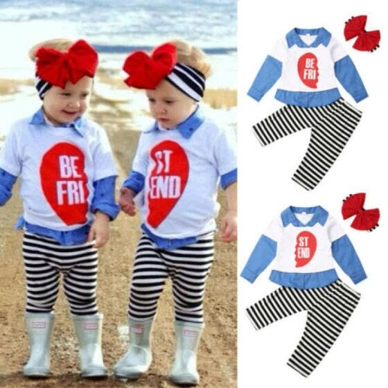 US Toddler Kids Baby Girl BEST FRIEND Clothes Set Shirt Top Stripe Pants Outfit