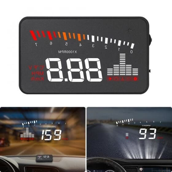 X5 HUD Car Head Up Display OBDII 2 Speed Warning Fuel Consumption Speedometer
