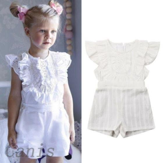 UK Toddler Kids Baby Girls Off Shoulder Dress Romper Jumpsuit Playsuit Outfits