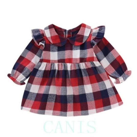 UK Newborn Baby Girl Dress Long Sleeve Plaid Princess Party Dress Casual Clothes