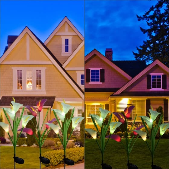 Siaonvr 3 Pack Solar Lights Outdoor Garden Stake Flower Lights LED Total 12 Lily Flower