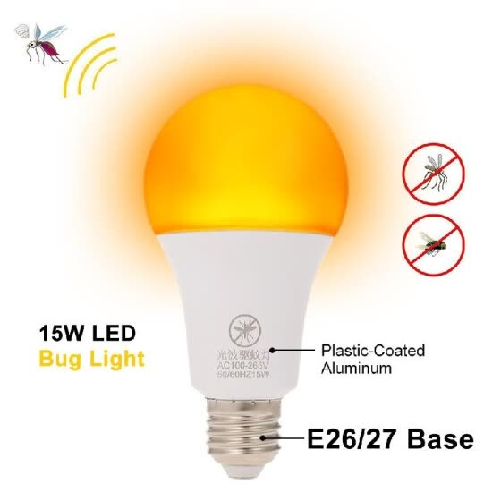 Yellow LED Bug Light Bulb No Blue Light Outdoor E26/27 15W Mosquito Repellent Light Bulb No UV 570-590nm Wavelength Night Light fo