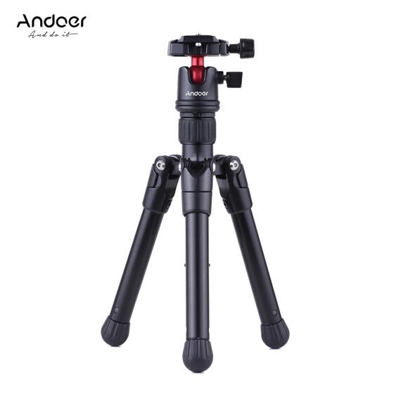 Andoer Mini Tabletop Travel Tripod Stand  with Ball Head Quick Release Plate Portable Lightweight for Canon Nikon Sony DSLR Camera