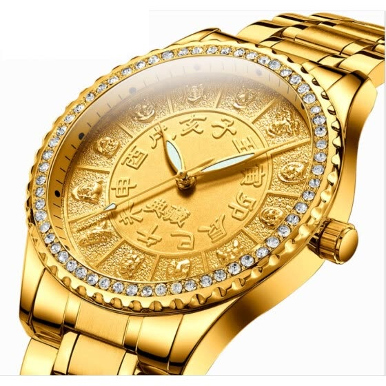 top luxury men diamonds watch gold stainless steel male 12 constellations fashion quartz watches China style