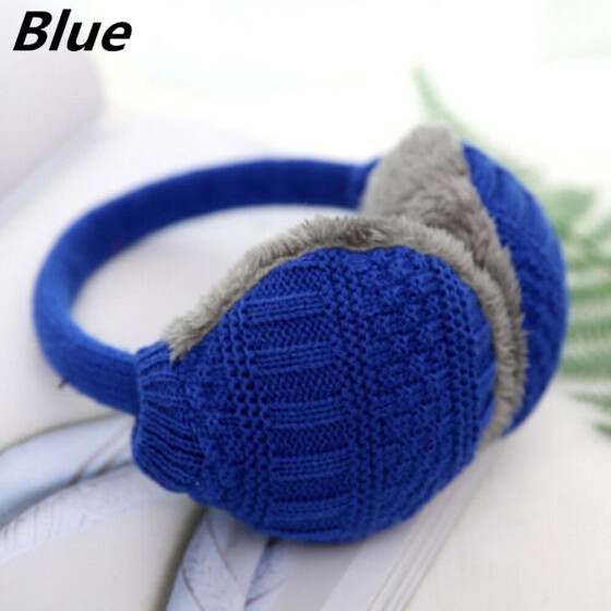 China Chinese Blue Flower Pattern Winter Earmuffs Ear Warmers Faux Fur Foldable Plush Outdoor Gift