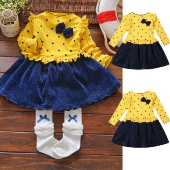 Toddler Kids Baby Girl Autumn Spring Long Sleeve Bow Dress Party Pageant Dresses