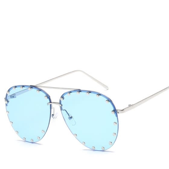 Round Frameless Sunglasses Fashion Ladies  Design Oversized Candy Tones Lens Personality Metal Round Nail Decoration UV400
