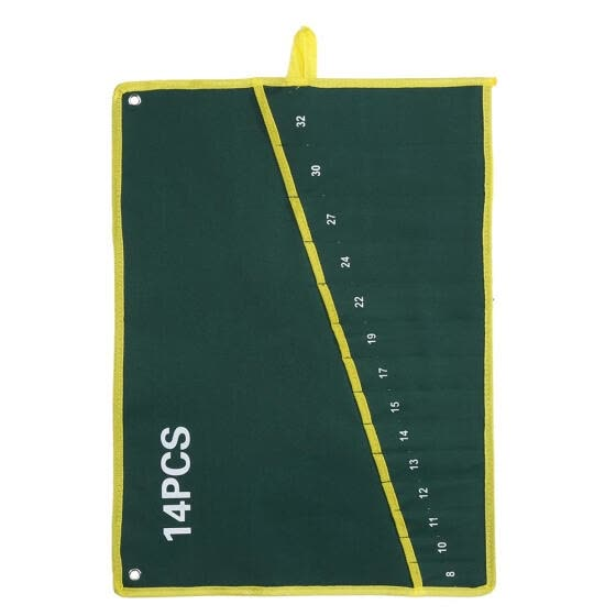 1Pc Durable Canvas 6/8/10/12/14/25 Pockets Spanner Wrench Tool Roll Up Storage Bag Green,Wrench Tool Storage Bag,Wrench Bag