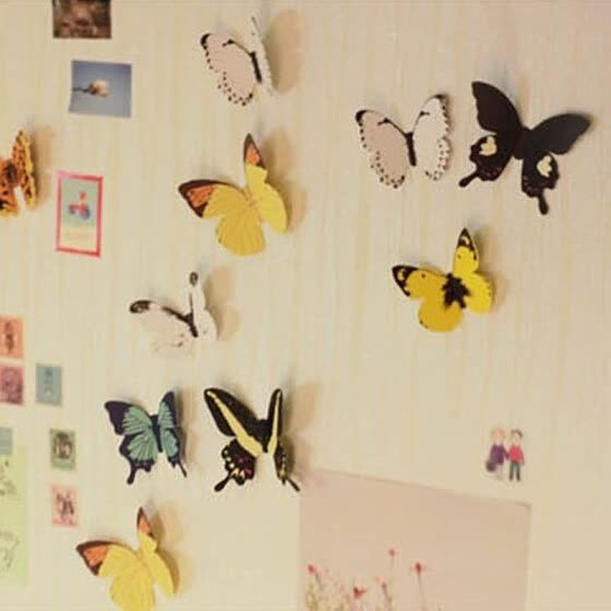 〖Follure〗15 Butterfly Three-dimensional Bedroom TV Background Wall Sticker Mural