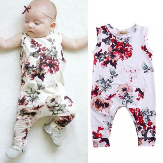 Floral Toddler Baby Boys Girls Romper Bodysuit Jumpsuit Outfits Sunsuit Clothes