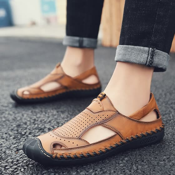Summer hollow hole casual shoes men's non-slip soft bottom driving shoes youth work English business leather sandals