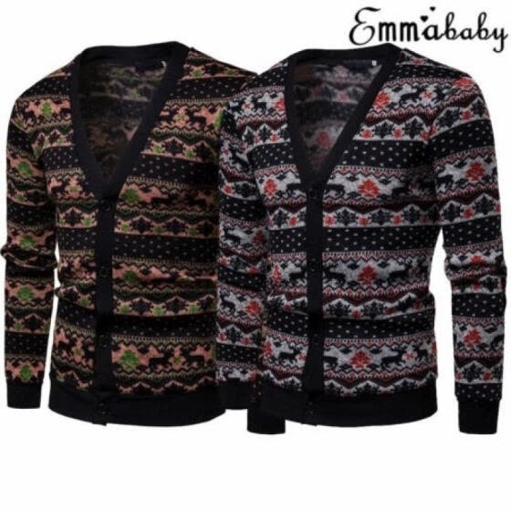 Fashion Christmas Single-breasted Jumper Sweater Mens Womens Unisex Novelty Elk Jumpers
