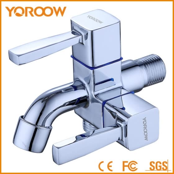 YOROOW good quality chromed plated quick open washing machine tap double handles zinc bibcock