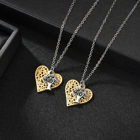 New Design Footprint Heart I Love You Nevckalce Silver Chain Necklace Pendant For Women Men Romantic Couple Statement Jewelry