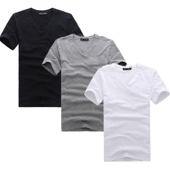 Mens Basic Shirts V-Neck Slim Fit Tees Tops Short Sleeve Casual Cotton T-Shirt
