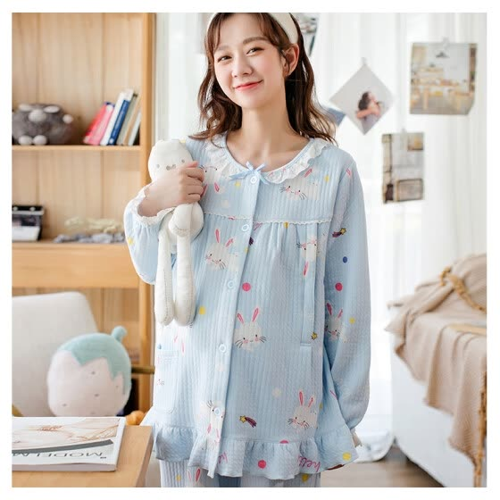 Ht-Home confinement clothing spring and autumn cotton air layer autumn and winter breastfeeding clothes pregnant women pajamas rabbit dots BKT906862-23 light blue L code