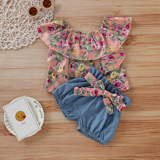 Kids Baby Girls Butterfly T-shirt Tops+Skirts Casual Outfits Clothes 2Pcs Set